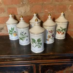 Stunning Vintage Set Of Six French Limoges Herb Jars - Superb Quality