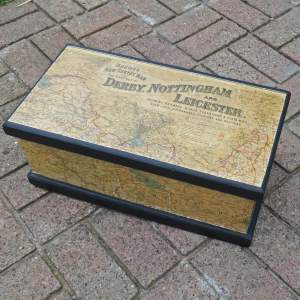 Vintage Pine Box Upcycled with Early 20th Century Map Fragments