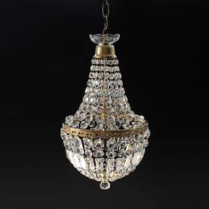 Crystal and Brass Bag Chandelier
