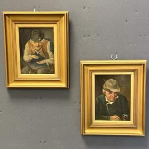 Pair of Falk Oil on Board Portrait Paintings