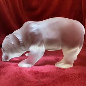Lalique Ursus Bear Sculpture modelled in Clear and Frosted Glass