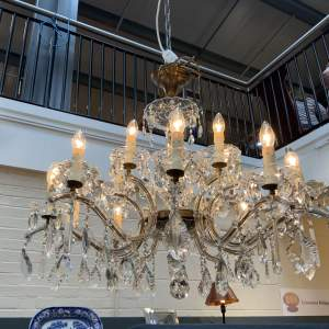 Beautiful French 15 Lamp Glass and Crystal Draped Chandelier Superb