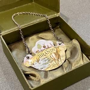 Vintage Crummels English Enamels Brandy Decanter Label