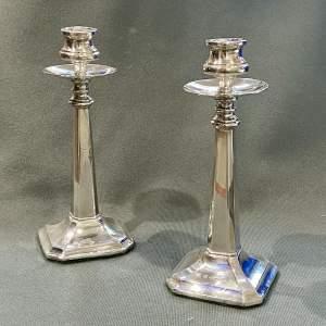 Pair of Art Nouveau Silver Candlesticks