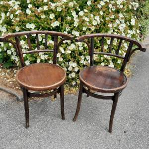 Pair of French Bentwood Tavern Armchairs
