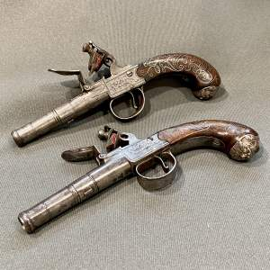 Pair of 18th Century Silver Inlaid Pocket Pistols by Waters