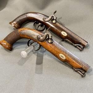 Pair of 19th Century Percussion Pistols by Harkom of Edinburgh