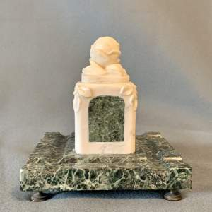 French Verde Antico and White Marble Inkstand