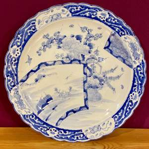 19th Century Meiji Period Japanese Blue and White Charger