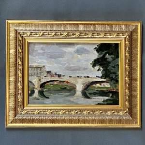 Bernard Lamotte Oil on Panel Painting City Bridge