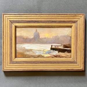 Roderick Dempster Mackenzie Scene on the Seine Oil on Panel