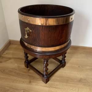 Oak Brass Bound Planter - Wine Cooler by R A Lister - Victorian