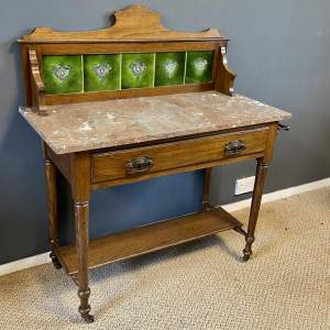 Edwardian Oak Washstand with Marble Top