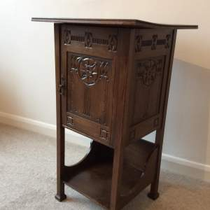 Antique Arts and Crafts Chip Carved Mahogany Pipe Cabinet