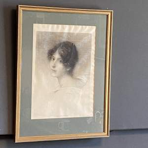 Beautiful Framed Engraving of a Young Woman