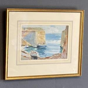 20th Century Watercolour Painting of a Harbour