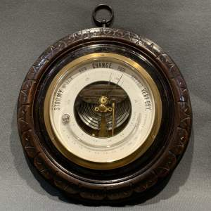 A Victorian Walnut Framed Wall Barometer