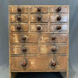 Early 19th Century Scumbled Pine Small Bank of Drawers