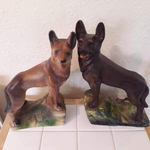 Pair of Art Deco Chalkware  German Shepherd dogs