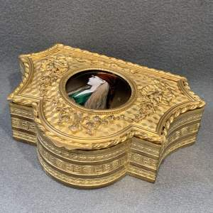19th Century Limoges Enamel Gilt Jewellery Box