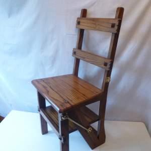 20th Century Metamorphic Oak Chair Stepladder