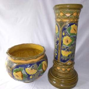 Large Stoneware Planter and Stand with Blue and Yellow Flowers