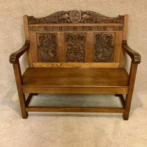 Good Quality Early 20th Century Carved Oak Hall Bench