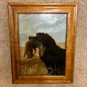 A Pair Of Oil On Canvas Paintings Of Terriers In Maple Frames