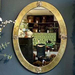 Art Nouveau Oval Brass Wall Mirror
