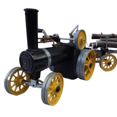 Rare Mamod Live Steam TWK1 Traction Engine and Lumber Wagon image-1