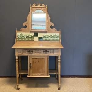Victorian Pine Tiled Back Dressing Table