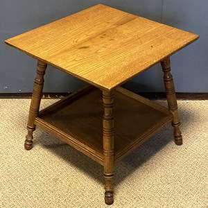 Edwardian Golden Oak Two Tier Table