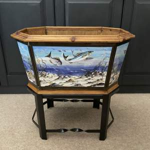 Early 20th Century Hand Painted Tiles Jardiniere or Wine Cooler