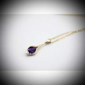 Vintage 9ct Gold Amethyst and Diamond Pendant and Chain Necklace