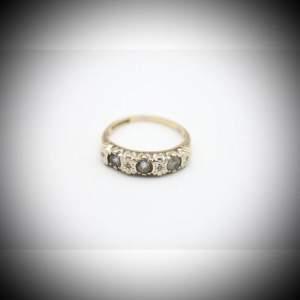 Vintage 9ct Gold Topaz and Diamond Dress Ring