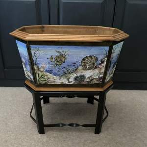 Early 1900s Hand Painted Tiles Jardiniere or Wine Cooler