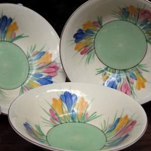 Clarice Cliff Spring Crocus Cereal Bowls x Three
