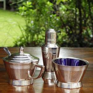 Art Deco 1930s Keith Murray - Mappin and Webb Silver Plated Cruet Set