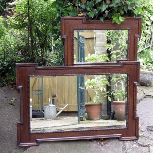 Jacobean Style Large 1920s Oak Framed Pair of Wall Mirrors image-1