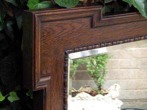 Jacobean Style Large 1920s Oak Framed Pair of Wall Mirrors image-2