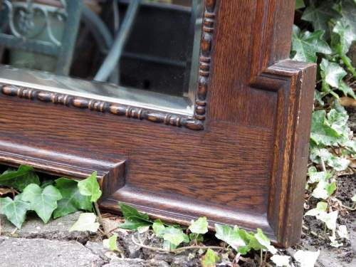 Jacobean Style Large 1920s Oak Framed Pair of Wall Mirrors image-3