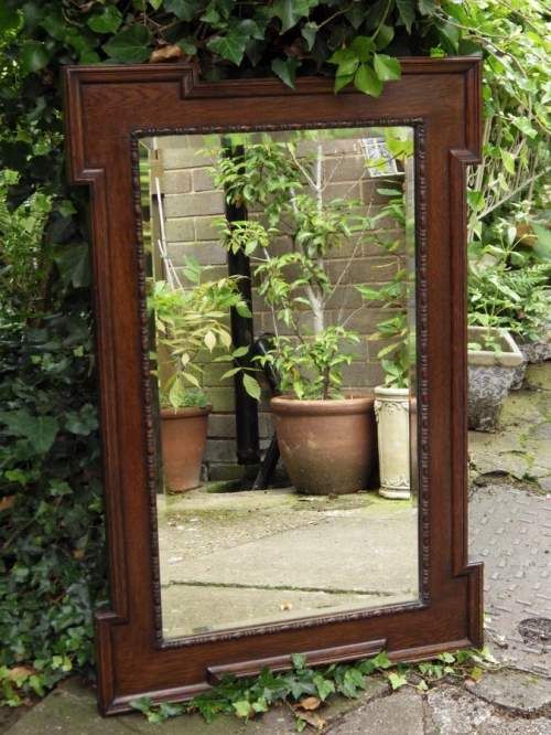 Jacobean Style Large 1920s Oak Framed Pair of Wall Mirrors image-4
