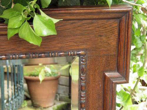Jacobean Style Large 1920s Oak Framed Pair of Wall Mirrors image-6