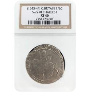 1643 – 44 Charles I Silver Half Crown