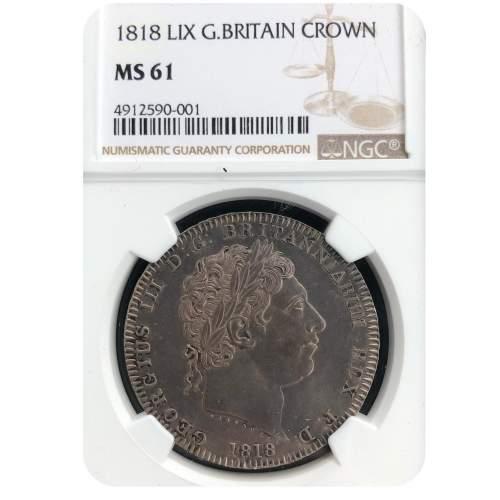 1818 George III Silver Crown MS61 image-1