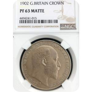 1902 Edward VII Matte Proof Silver Crown PF63