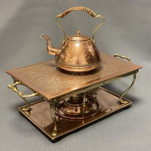 Henry Loveridge Copper and Brass Chafing Shelf Burner and Kettle