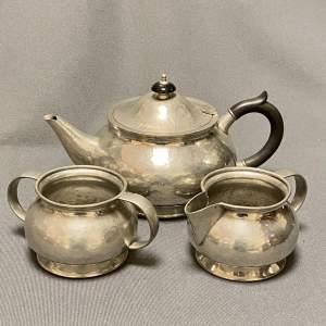 Liberty and Co Three Piece Pewter Tea Set
