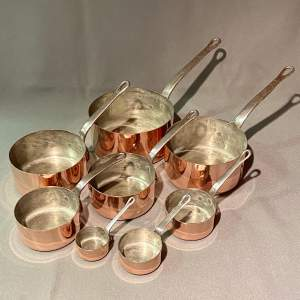Vintage Set of Eight Copper Pans with Metal Handles