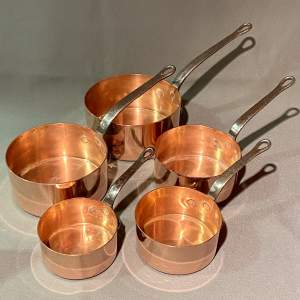 Vintage Set of Five Copper Saucepans with Metal Handles